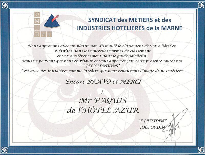 carte de félicitations du syndicat des métiers et des industries hôtelières de la Marne pour avoir reçu 2 étoiles au guide michelin