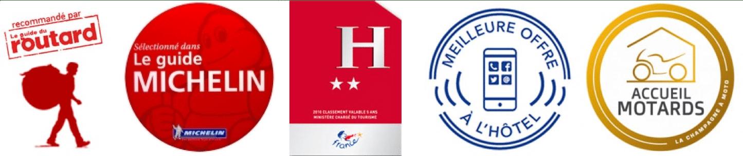 logos guide du routard, guide michelin, bienvenue à l'hôtel et meilleure offre à l'hôtel